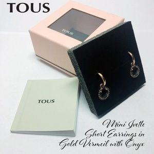Tous Mini Ivette Earrings in Gold Vermeil w/Onyx